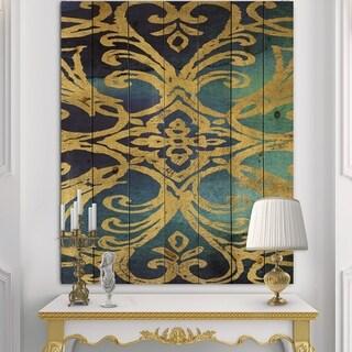 Designart 'metallic Glam Indigo Form I' Transitional Print on Natural Pine Wood - Blue