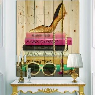 Designart 'Paris Glamorous Gold Style IV' Fashion Print on Natural Pine Wood - Pink