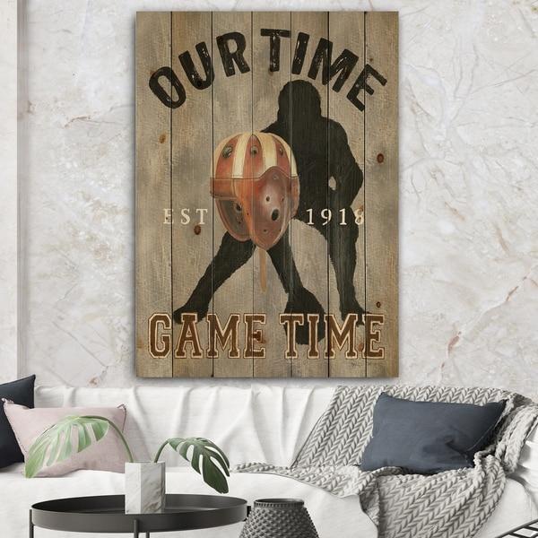 Designart 'football Game Day I' Vintage Sport Print on Natural Pine Wood - Black/Orange
