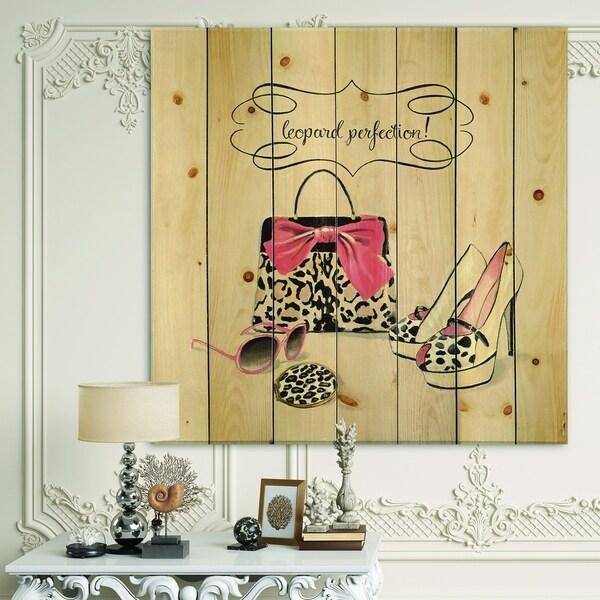 Designart 'Glam fashion handbags II' Fashion Print on Natural Pine Wood - Pink