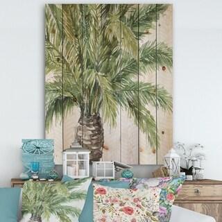 Designart 'Mixed Botanical Greens palms V' Farmhouse Print on Natural Pine Wood - Green