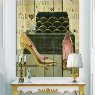 Designart 'Glam fashion High Heels IV' Posh & Luxe Print on Natural Pine Wood - Pink