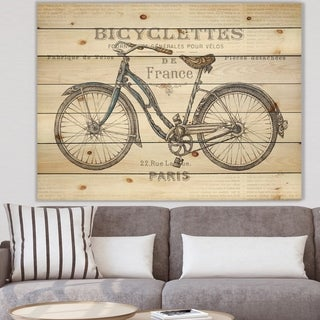 Designart 'Paris France Bicycles' Vintage Transportation Print on Natural Pine Wood - Grey