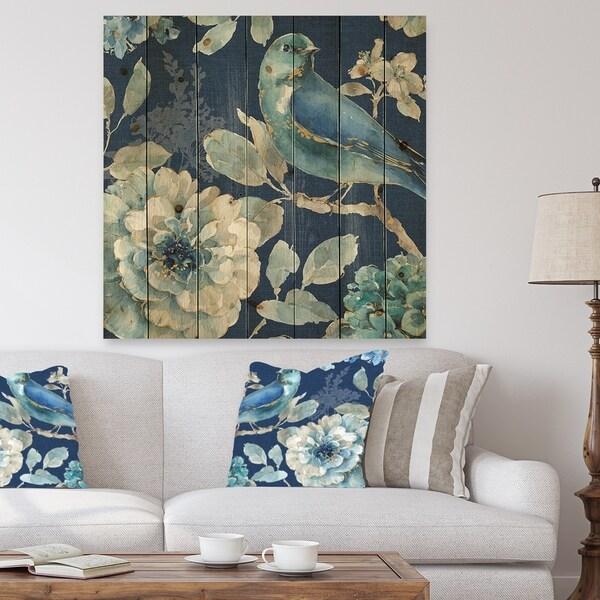 Designart 'Indigold Bird Cottage Family III' Farmhouse Print on Natural Pine Wood - Blue