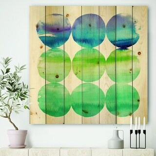 Designart 'Circle Abstract Blue Colorfields III' Mid-Century Modern Transitional Print on Natural Pine Wood - Purple