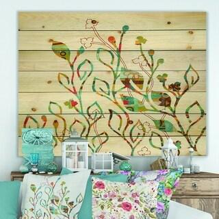 Designart 'Rainbow Coloured Vines And Flowers' Cabin & Lodge Print on Natural Pine Wood - Blue/Orange