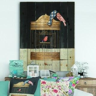Designart 'Tweet Gold Birdcage Collage' Traditional Print on Natural Pine Wood - Black