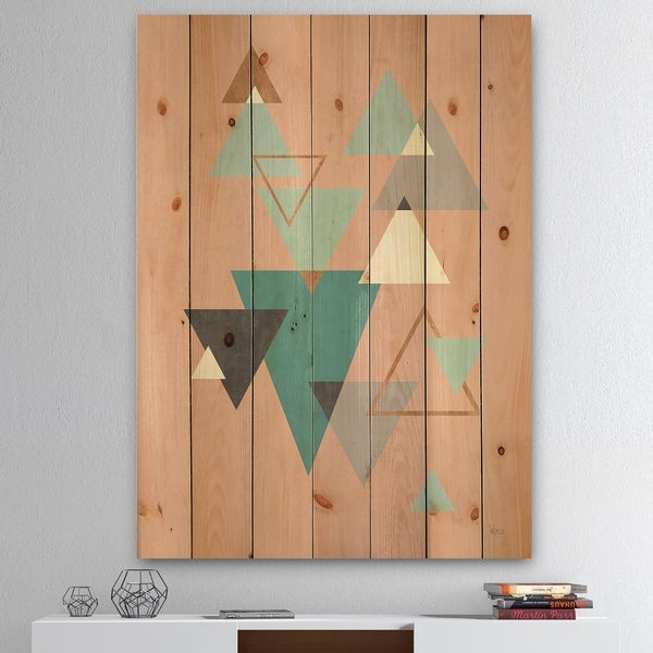 Designart 'Geometric hexagons Pattern III' Transitional Print on Natural Pine Wood - Multi-color