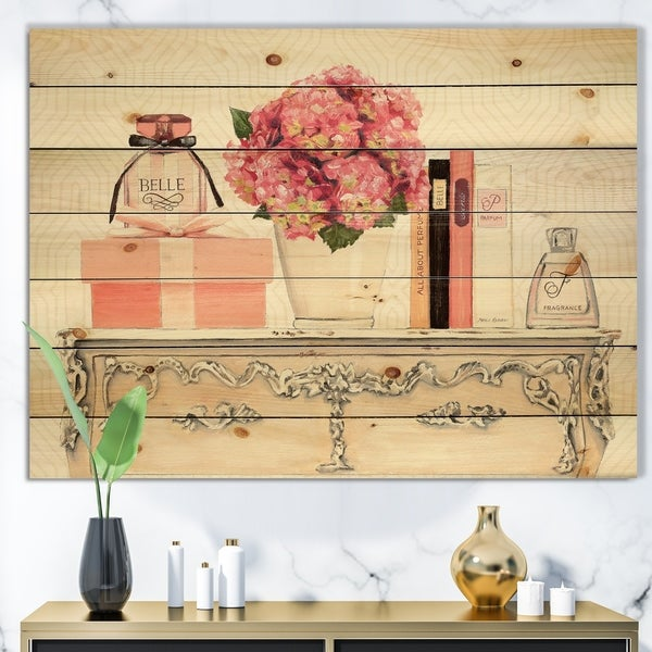Designart 'Chic Galm Closet IV' Fashion Print on Natural Pine Wood - Pink
