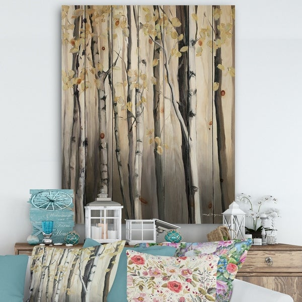 Designart 'Golden Birch Forest IV' Cabin & Lodge Print on Natural Pine Wood - Grey
