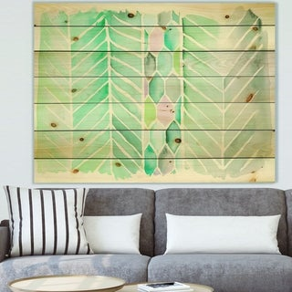 Designart 'Watercolor Geometric Swatch Element IV' Mid-Century Modern Print on Natural Pine Wood - Blue/Green