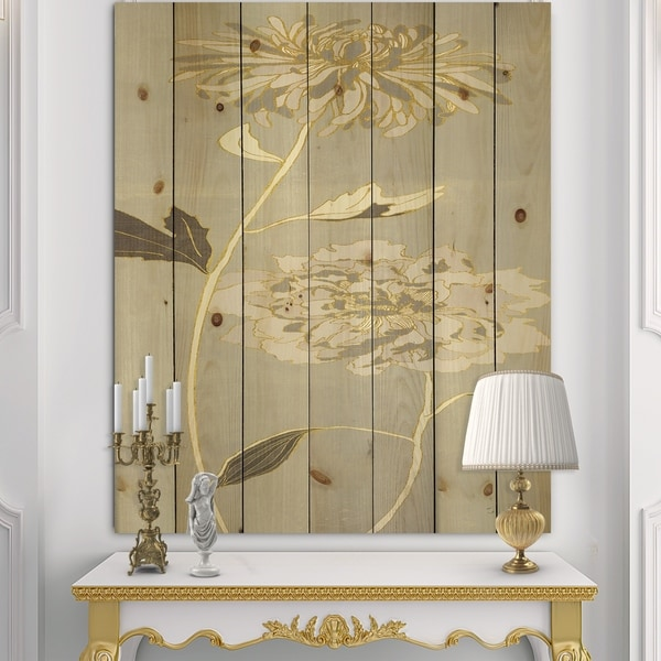 Designart 'Gold Metallic Floral Garden II' Modern Glam Print on Natural Pine Wood - Grey