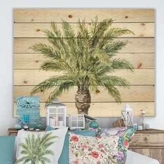 Porch & Den Mixed Botanical Greens palms IV' Print on Natural Pine Wood