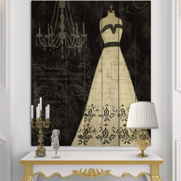 Designart 'French Couture II' Fashion Print on Natural Pine Wood - Black/White