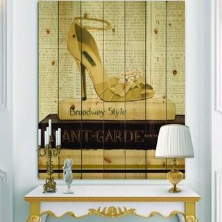 Designart 'Gold Fashion High Hells III' Posh & Luxe Print on Natural Pine Wood - Black