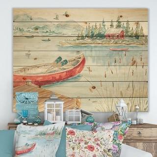 Designart 'Lake House Canoes I' Lake House Print on Natural Pine Wood - Green/Pink