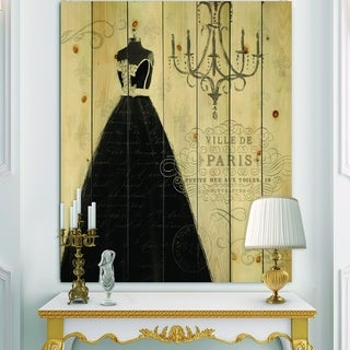 Designart 'French chandeliers Couture IV' Fashion Print on Natural Pine Wood - Black