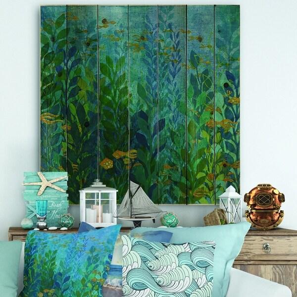 Designart 'Blue Underwater Lake leaves II' Nautical & Coastal Print on Natural Pine Wood - Blue/Green