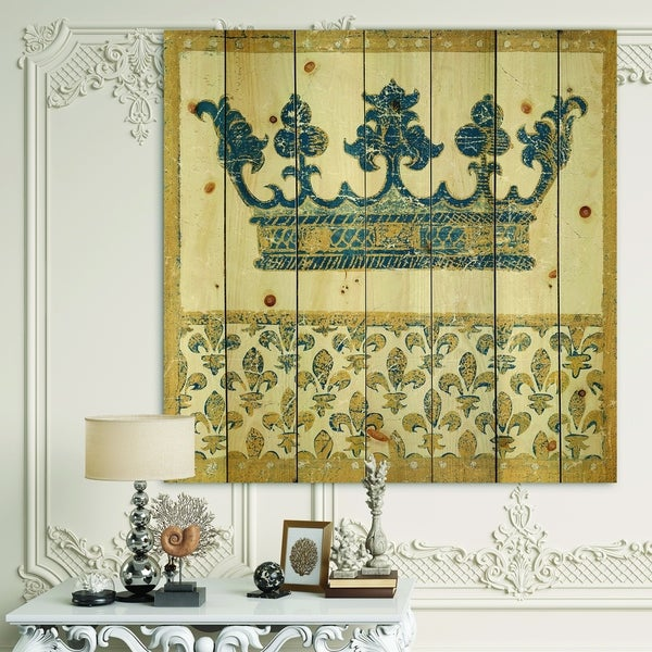 Designart 'Fleur de Lis Gold Crown' Ornate Glam Print on Natural Pine Wood - Blue