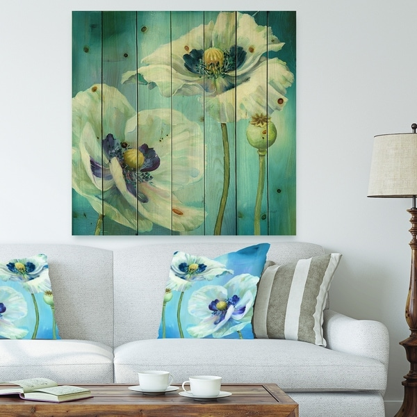 Designart 'White Flower on Blue I' Farmhouse Print on Natural Pine Wood - White