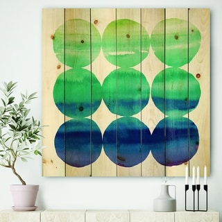 Designart 'Circle Abstract Blue Colorfields II' Mid-Century Modern Transitional Print on Natural Pine Wood - Purple