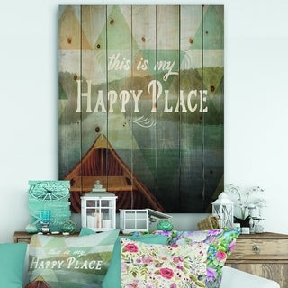 Designart 'Lake House Happy Quote' Cottage Print on Natural Pine Wood - Blue/Brown