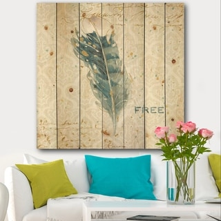 Designart 'Damask Painted Gilded Feather on Blue' Nautical & Coastal Print on Natural Pine Wood - Blue
