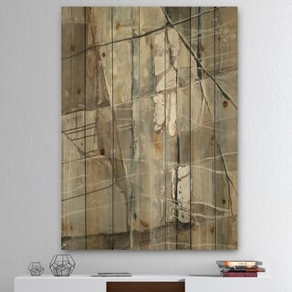 Designart 'Grey Silver Geometric Composition' Modern Print on Natural Pine Wood - Grey