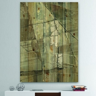 Designart 'Silver and Beige Abstract Waterpainting' Contemporary Print on Natural Pine Wood - Grey