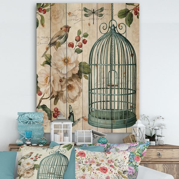 Designart 'Blue Cottage Bird, Birdcage and Apple Blossoms II' Floral and botanical Print on Natural Pine Wood - Multi-color