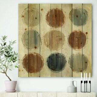 Designart 'Geometric Circle Natural Balance II' Mid-Century Modern Transitional Print on Natural Pine Wood - Multi-color