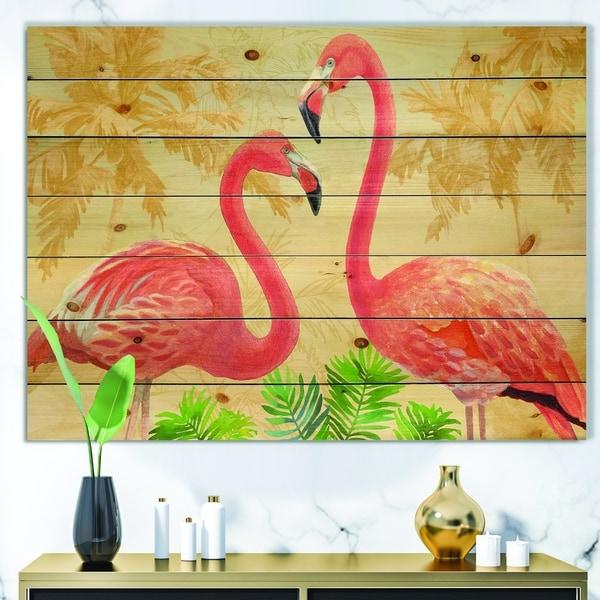 Designart 'Gold Glam Flamingos' Animals Print on Natural Pine Wood - Pink