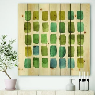 Designart 'Geometric Maze of Blue And Green' Transitional Print on Natural Pine Wood - Green
