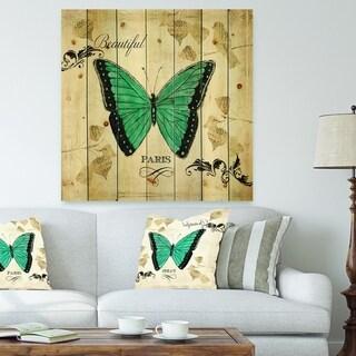 Designart 'Blue Farmhouse Butterfly' Farmhouse Print on Natural Pine Wood - Blue