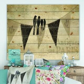 Designart 'French Bird Flea Market' Farmhouse Print on Natural Pine Wood - Grey/Black