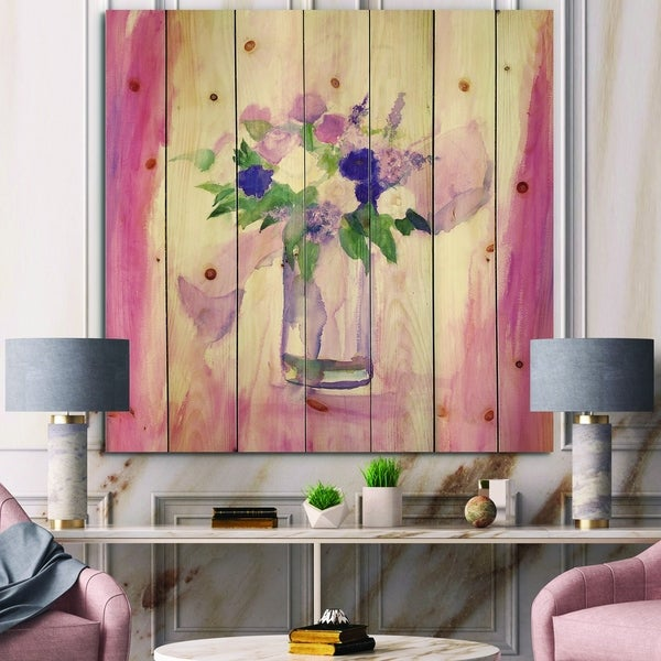 Designart 'Pink Flower Still Life' Shabby Chic Print on Natural Pine Wood - Pink/Purple