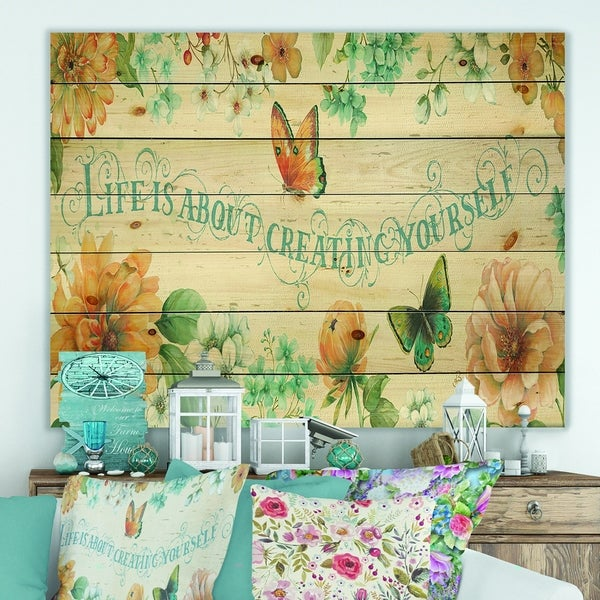 Designart 'Butterfly Bloom lovely Quote' Farmhouse Print on Natural Pine Wood - Blue