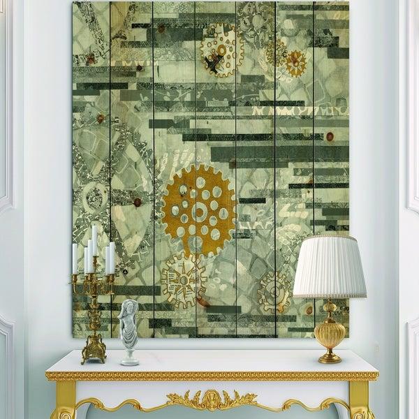 Designart 'Modern Gold Timetable I' Glam Print on Natural Pine Wood - Grey