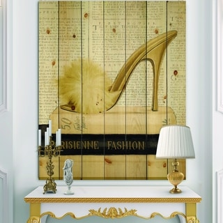 Designart 'Gold Fashion High Hells II' Posh & Luxe Print on Natural Pine Wood - Black