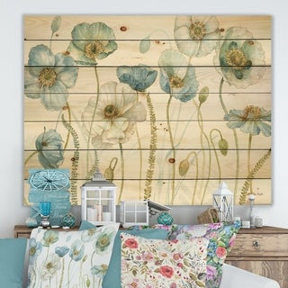 Designart 'My Greenhouse Cottage Flowers IV' Traditional Print on Natural Pine Wood - Blue