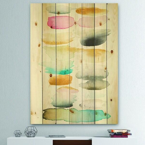 Designart 'Watercolor Geometric Swatch Element II' Mid-Century Modern Print on Natural Pine Wood - Multi-color
