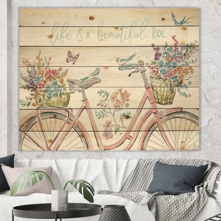 Designart 'Spring Bike Bouquet' French Country Print on Natural Pine Wood - Multi-color