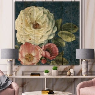 Designart 'White and Pink Damask Rose Flowers' Farmhouse Print on Natural Pine Wood - White