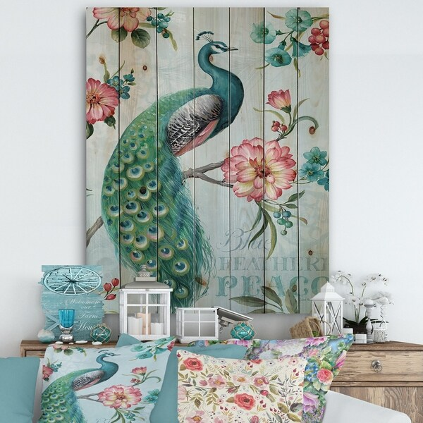 Designart 'Peacock ' Floral and botanical Print on Natural Pine Wood - Blue/Green