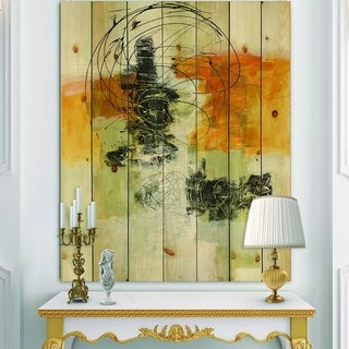 Designart 'Abstract Composition of Glamorous Yellow and Black' Contemporary Print on Natural Pine Wood - Grey/Orange