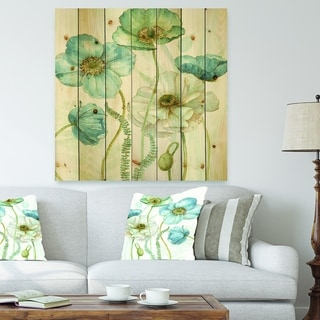 Designart 'Blue Cottage Flowers Drawing II' Farmhouse Print on Natural Pine Wood - Blue