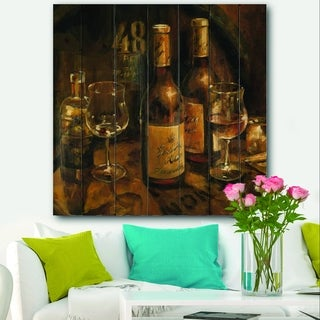 Designart 'Vintage Wine Cellar' Traditional Print on Natural Pine Wood - Brown