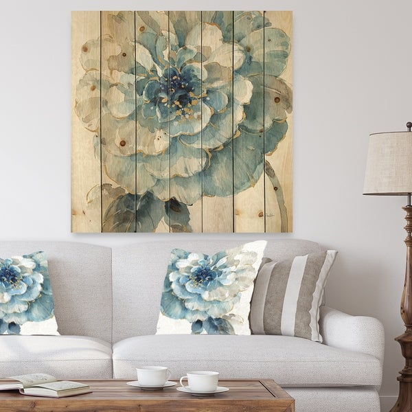 Designart 'Indigold Gold Country FLower' Cottage Country Print on Natural Pine Wood - Blue