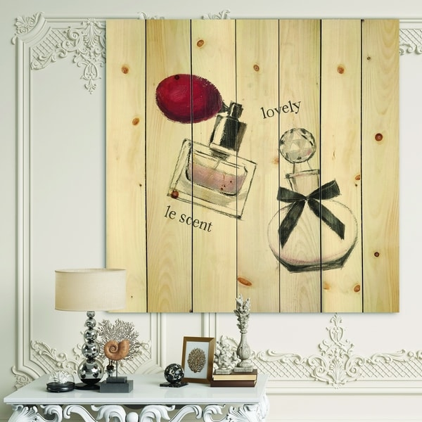 Designart 'Lovely Glamorous Parfum ' Traditional Bathroom Print on Natural Pine Wood - Red