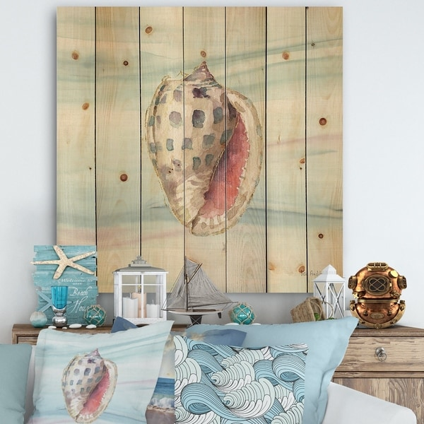 Designart 'Gilded Sea Horn Shell on Blue' Nautical & Coastal Print on Natural Pine Wood - Blue